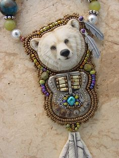 Spirit Bear and Buckle Necklace by HeidiKummliDesigns on Etsy