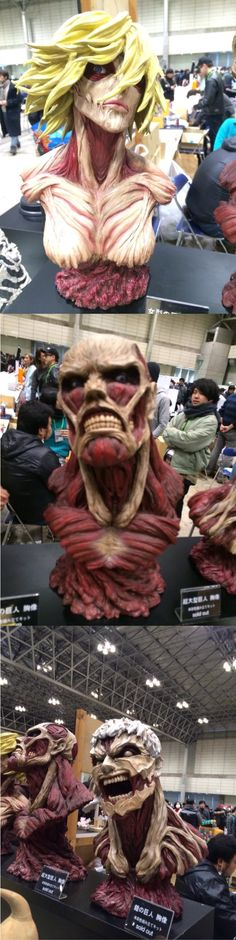 Resurrection Workshop's Armored, Colossal, and Female Titan Busts at Wonder Festival 2016 (Winter)