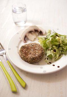 Steak vegan au tofu fumé et lentilles vertes pour burger