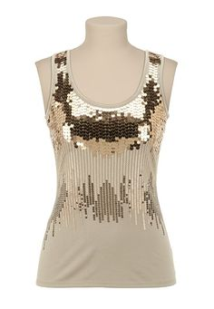 Love the ombre of sparkle!  Shimmer and shine this fall FOR SURE!    Gold Ombre Sequin Tank available at #Maurices