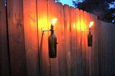 Diy Outdoor beer bottle wall lighting | HARDWARE ONLY Wine Bottle Tiki Torch kits - Outdoor Lighting ...