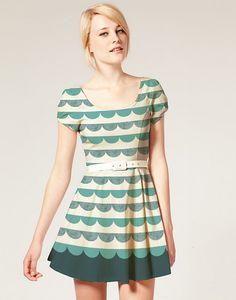 cute green scallop pattern dress