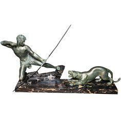 """""""J. de Roncourt"""" Original French Art Deco Sculpture, signed"""
