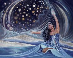 """Prayer to Poli'ahu"" from the Spirit of Hawaii Collection by Christina DeHoff Fine Art Hawaiian Mythology, Hawaiian Goddess, Hawaiian Legends, Hawaiian Art, Hawaiian Quotes, Divine Goddess, Moon Goddess, Tutu, Polynesian Art"