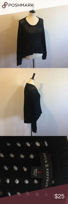 Rock & Republic Sweater Rock & Republic • long sleeve • black knit • high low • worn once • excellent condition • size:L Rock & Republic Sweaters