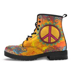 Our orange Peace and Love boots are bursting with bright colors that are sure to make the world smile with you. Order your flower peace sign boots today! Hippie T Shirts, Boho Boots, Kentucky Derby Hats, Indie Fashion, Fashion Fashion, Hippie Outfits, Beautiful Shoes, Hats For Women, Peace And Love
