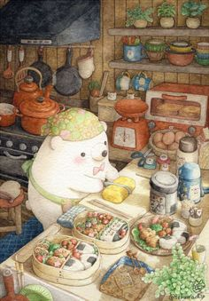 Cooking For Two Simple - - - Mum Cooking Illustration Kawaii Drawings, Cute Drawings, Art Japonais, Food Drawing, Cute Bears, Kawaii Art, Cute Illustration, Polar Bear Illustration, Art Plastique
