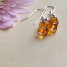 Amber Earrings, Genuine Amber, Real Amber, Baltic Amber Jewellery, Modern Clip On, Sterling Silver, Boho Earrings, Womens Gifts, Valentines by MadeByMissM on Etsy
