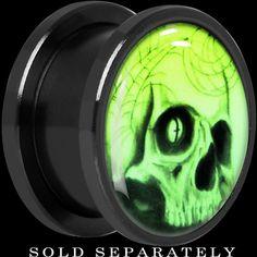 Webbed Skull Glow in the Dark Screw Fit Plug in Titanium #bodycandy