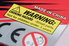 Warning label on the toy package. Not for children under 3 years.