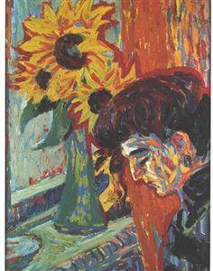 Head of a Woman in Front of Sunflowers - Ernst Ludwig Kirchner (German, Expressionism Ernst Ludwig Kirchner, Emil Nolde, Dresden, Kandinsky, Karl Schmidt Rottluff, Amedeo Modigliani, Art Nouveau, Gouache, Colors