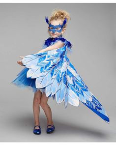 Twirl and fly, pretty bird! You're a rare sight, covered in blue with shimmery wings and a lace mask in this pretty bluebird costume for girls. 3-pc. set.