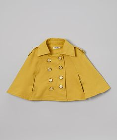 Love this Yellow Spring Button Cape - Girls by Dino Bebe on #zulily! #zulilyfinds