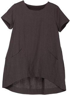 6e59f12f8f68d6 Minibee Women s Cotton Linen Short Sleeve Tunic Top Tees Black M at Amazon  Women s Clothing store