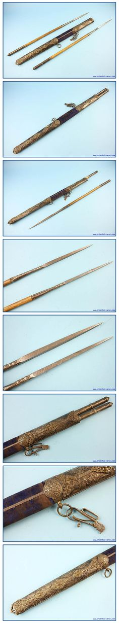 Ottoman jarid javelins (short throwing spears), 18th century, used in the eastern world from Turkey to India, two javelins with 8 1/2 inches blades square cross section and wood hafts 23 inches long ending with a chased silver cap. The Pair is housed in a wood scabbard with two compartments, covered with velvet and mounted with chased silver mounts. Total length 35 inches.