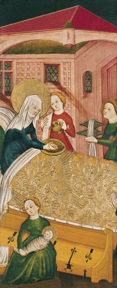 ca 1430. The Birth of the Virgin - Anonymous German Artist active in Konstanz | Museo Thyssen