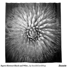 Agave Abstract Black and White Shower Curtain - This unique shower curtain is decorated with is our original abstract black and white fine art photograph of an agave. Photographer is looking down at the top of this southwest desert plant, giving the photo an abstract look. Southwest feel, but abstract and interesting! Original photo by Alan Socolik. All Rights Reserved © 2015 Alan & Marcia Socolik.