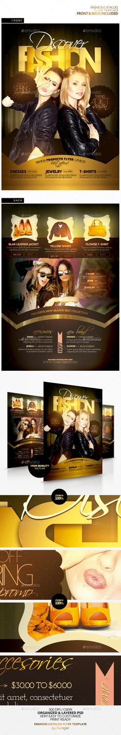 Fashion Catalog Flyer Template - Front & Back / $6. This flyer is perfect for the promotion of Product Catalogs, Sales/Promotions, Price Lists, New Collections or Whatever you Want!.
