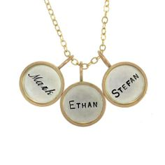Three Silver Name Charms with Gold Rim by Metal Pressions