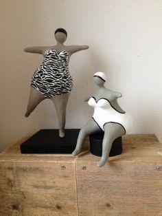 black and white - women - - Nana's - bathers - Paper Mache