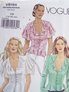 Vogue V8194 Sewing Pattern  Vogue Women's Blouse by WitsEndDesign