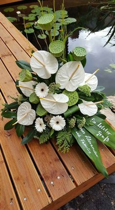White anthurium with lotus bud floral arrangement - - Moja strona Home Flowers, Church Flowers, Funeral Flowers, Beautiful Flowers, Flowers Garden, Funeral Flower Arrangements, Beautiful Flower Arrangements, Tropical Floral Arrangements, Tropical Flowers