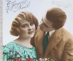Antique French couples Postcards | Vintage French postcard 1920s couple Hand tinted TREASURED x 3