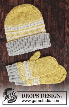 Lemon Pie Set / DROPS - Free knitting patterns by DROPS Design - Lemon Pie Set / DROPS – Free knitting patterns by DROPS Design Hat and mittens. Would be really pretty with mustard Poncho Knitting Patterns, Mittens Pattern, Knit Mittens, Easy Knitting, Knitting Socks, Knitted Hats, Crochet Hats, Drops Design, The Mitten