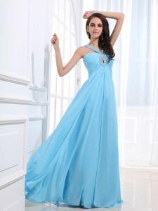 Custom Made V-neck Beaded Baby Blue Evening Dress with keyhole