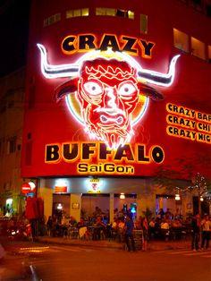 The Crazy Buffalo bar in SaiGon! Tourist mayhem - love the place