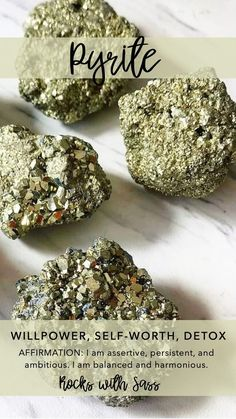 Pyrite --> Willpower, Self Worth and Detox Crystal Healing Stones, Crystal Magic, Crystal Grid, Stones And Crystals, Gem Stones, Minerals And Gemstones, Crystals Minerals, Chakras, Chakra Crystals