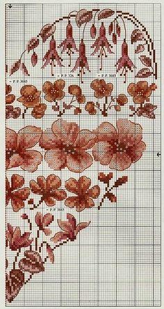 Kwiatowe serce haftem krzyzykowym | Haft krzyżykowy - inspiracje i wzory