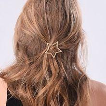2015 l'arrivée de nouveaux bijoux de cheveux creux étoiles Golden Heart alliage Barrette cheveux Pin Clip pour les femmes fille(China (Mainland))