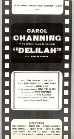 "Carol Channing ""Delilah"" (The Vamp) Steve Reeves (Hercules), Will Greer (Grandpa Zeb Walton The Waltons), Paul Lipson (Tevye - Fiddler on the Roof ) Pre-Broadway Souvenir Program title page1955 b"