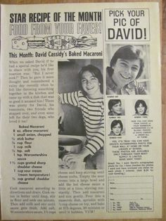 David Cassidy, Full Page Vintage Clipping Partridge Family, David Cassidy, Magazine Articles, My True Love, Vintage Clip, Greatest Hits, Love Him, Memories, Pop