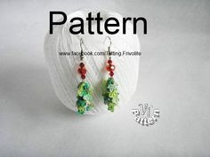 Christmas tree 3D mini, Earrings tree, Tatting pattern, Tutorial photo in pdf by TattingPatternDesign on Etsy