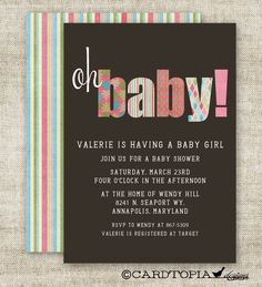 GIRL BABY SHOWER Invitations Oh Baby Digital by CardtopiaCompany, $14.00