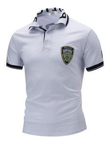 054bc08f03 White Polo Shirts Men s Short Sleeve Logo Printed Summer Tee Shirt Tops