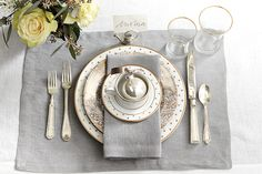 Gold and silver place setting for the holidays -- utterly elegant for an evening with family or friends.