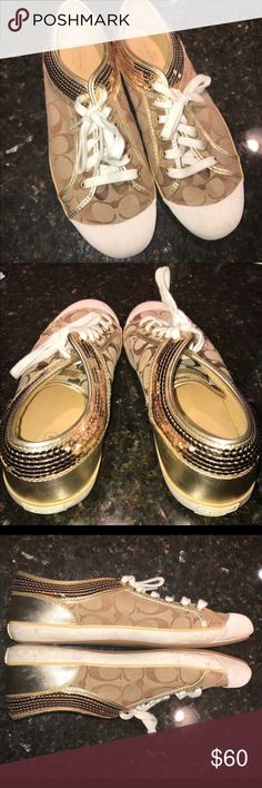 COACH gold glitter sneakers size 10 Great condition! Some scuffs but no tears or missing sequins. Size 10. Only worn a few times Coach Shoes Sneakers