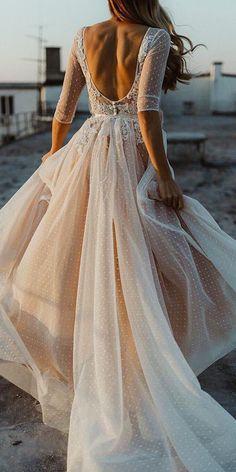 Wonderful Perfect Wedding Dress For The Bride Ideas. Ineffable Perfect Wedding Dress For The Bride Ideas. Polka Dot Wedding Dress, Open Back Wedding Dress, Dream Wedding Dresses, Bridal Dresses, Wedding Gowns, Lace Weddings, Wedding Bells, Floaty Wedding Dress, Prom Dresses
