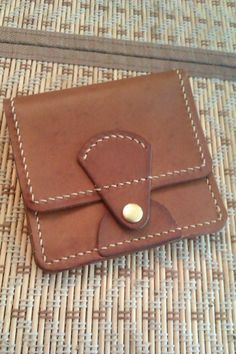 Купить портмоне компакт - коричневый, однотонный, ручная прошивка, кожа натуральная, кошелек, кожа натуральная