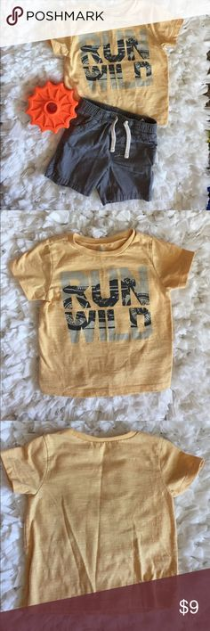 Old Navy Run Wild Shirt + Shorts Set 6-12 MO Summer Outfit for the Wild Child 🏍.  From Old Navy: Gray Lightweight Cotton Shorts - Back pockets, drawstring.  Heathered Yellow Shirt 'Run Wild' Print. Both 6-12 months. Preowned and in great condition. Old Navy Matching Sets