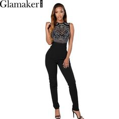 7c15a5ccf2 Glamaker Sleeveless o neck rhinestone summer jumpsuit romper Mesh party  bodycon overalls Women clubwear long pants playsuit