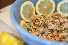 Fresh and healthy tuna salad recipe! Made with veggies, lemon juice, olive oil, and dijon mustard - no mayo! Delish!