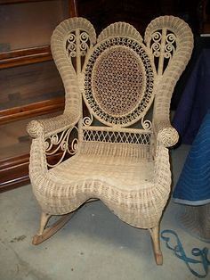 Antique Natural Wicker Victorian Rocker Most Likely Heywood Wakefield | eBay
