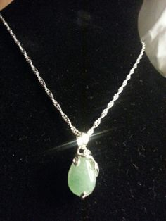 Gorgeous Christmas gift! Braided Silver Necklace with Jade Pendant by DarlinKoriDesigns
