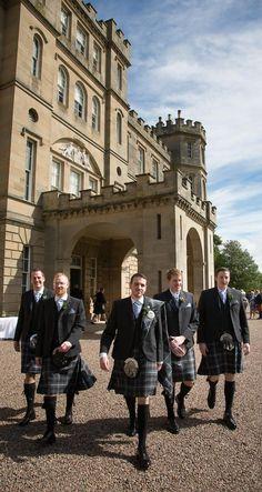 Men in kilts for their wedding. A gorgeous Scottish castle wedding at Wedderburn Castle, near Edinburgh, Scotland.