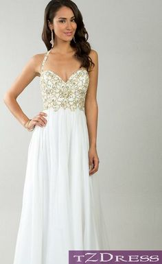Beading Bodice Ruched Waist Long Strapless Sweetheart White Prom ...