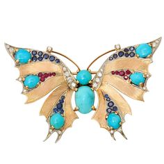 VAN CLEEF & ARPELS PARIS Gold Butterfly Brooch Pendant